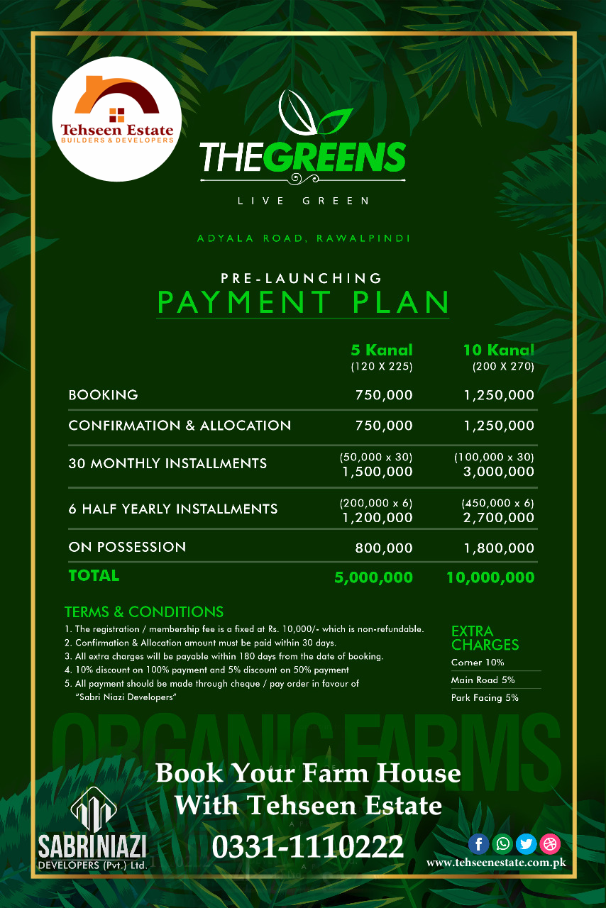 The Greens Farm Houses Payment Plans